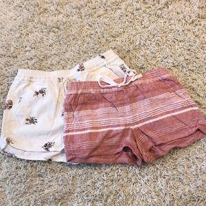 LOFT Pink & White striped shorts